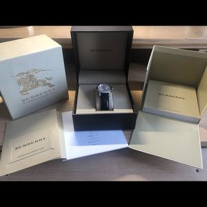 Burberry Silver Dial Black Leather Ladies Watch